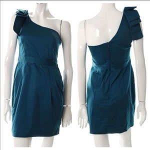 French Connection One Shoulder Bow Teal Dress F215